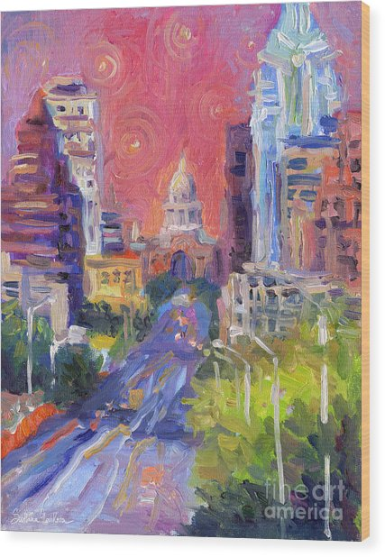 Impressionistic Downtown Austin City Painting Wood Print