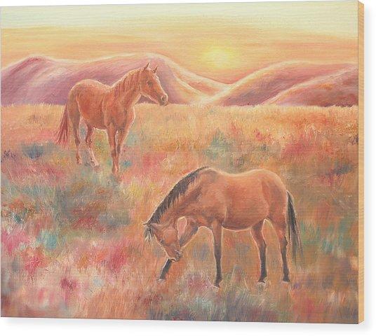 Impressions At Sunset Wood Print