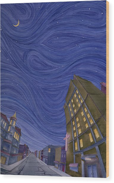 Wood Print featuring the painting Impressions Of Sedalia Nocturne by Scott Kirby