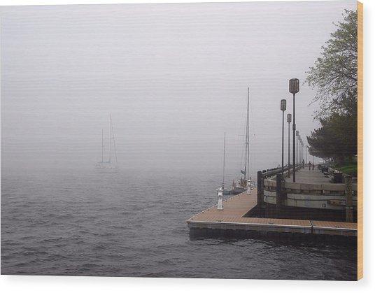 In A Fog In Newburyport Wood Print