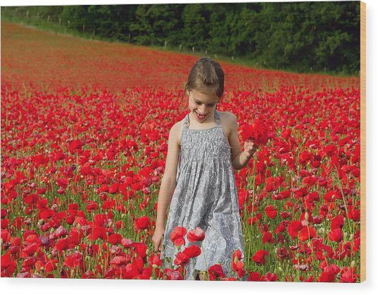 In A Sea Of Poppies Wood Print