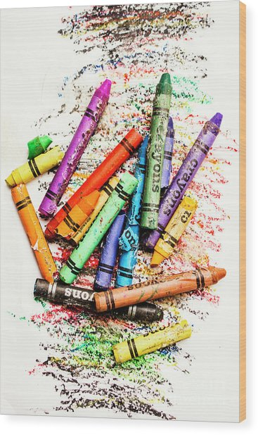 In Colours Of Broken Crayons Wood Print