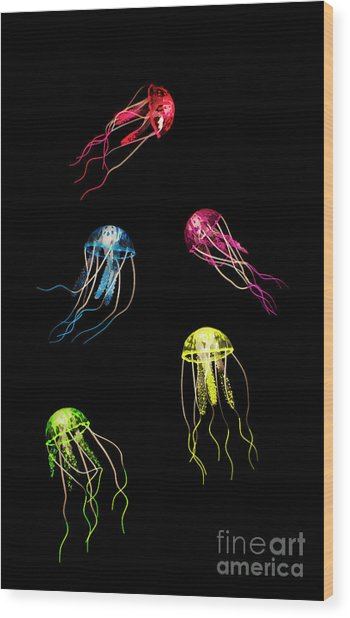 In Colours Of Swirling Jellyfishes  Wood Print