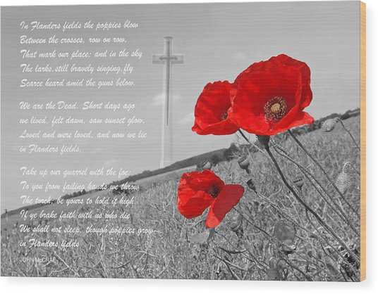 In Flanders Fields Wood Print