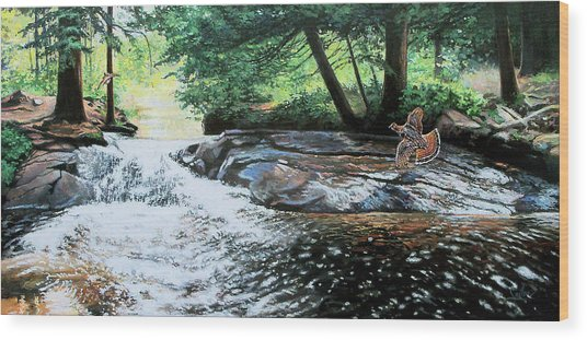 In Flight Grouse Wood Print by Larry Seiler