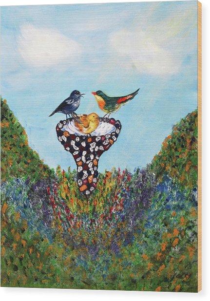 In The Garden Wood Print by Ann Ingham