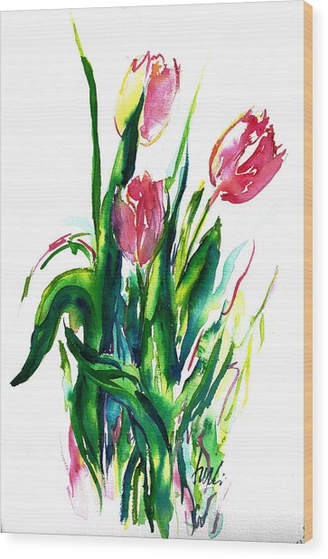 In The Pink Tulips Wood Print