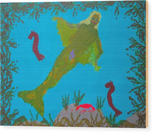 Wood Print featuring the painting In The Sea by AJ Brown