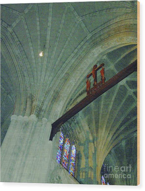 In The Shadow Of The Crucifix Wood Print by Faith Harron Boudreau