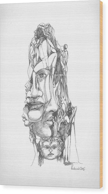 In Your Head Wood Print by Padamvir Singh