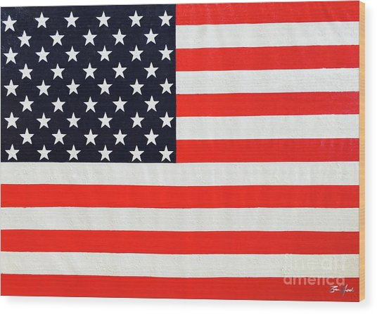 Independence Day Large Scale Oil On Canvas Original Landscape American Flag United States Flag Wood Print