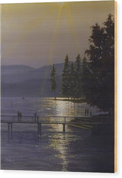 Independence Point, Lake Coeur D'alene Wood Print