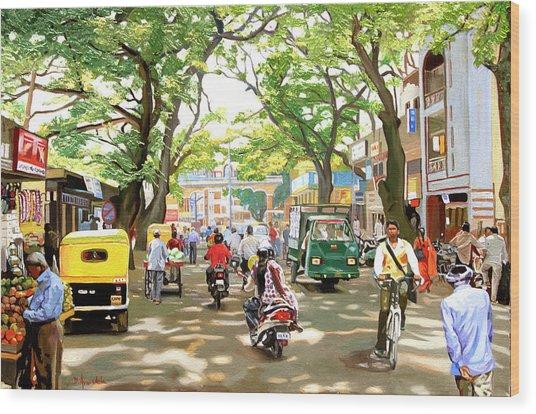 India Street Scene Wood Print by Dominique Amendola