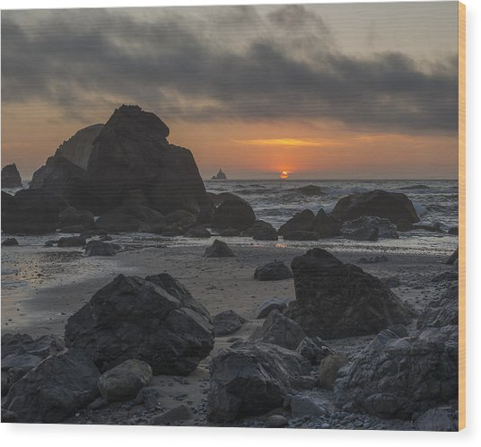 Indian Beach Sunset Wood Print