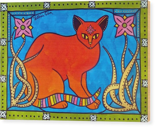 Indian Cat With Lilies Wood Print