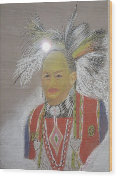 Indian Chief Wood Print by Geanene Anderson