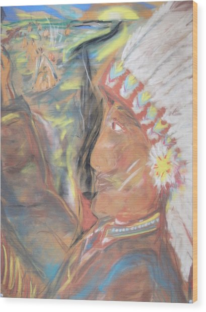 Indian Chief On French Velvet Wood Print by Bob Smith