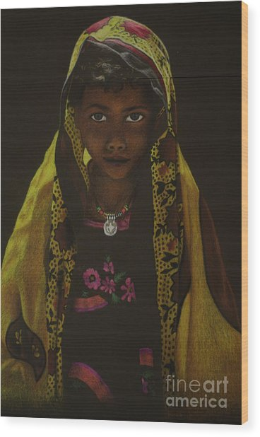 Indian Child Wood Print