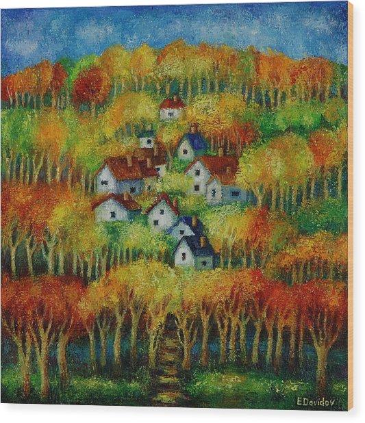 Indian Fall No 1. Wood Print by Evgenia Davidov