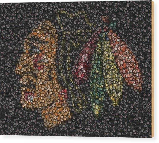 Indian Hockey Puck Mosaic Wood Print