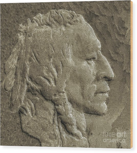 Indian In Stone   Wood Print by Randy Steele