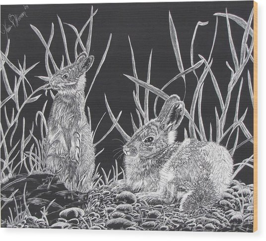 Indian Ink Rabbits Wood Print