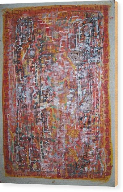 Indian Light Wood Print by Helene  Champaloux-Saraswati
