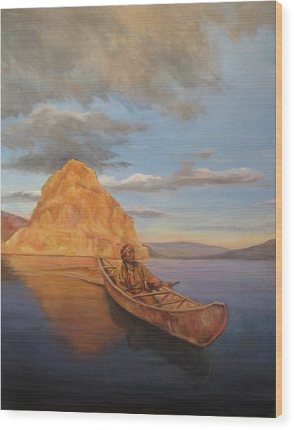 Indian On Lake Pyramid Wood Print