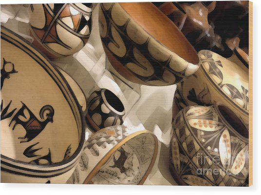 Indian Pottery Wood Print by Linda  Parker
