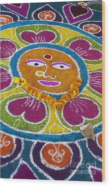 Indian Rangoli Face  Wood Print