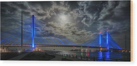 Indian River Bridge Moonlight Panorama Wood Print