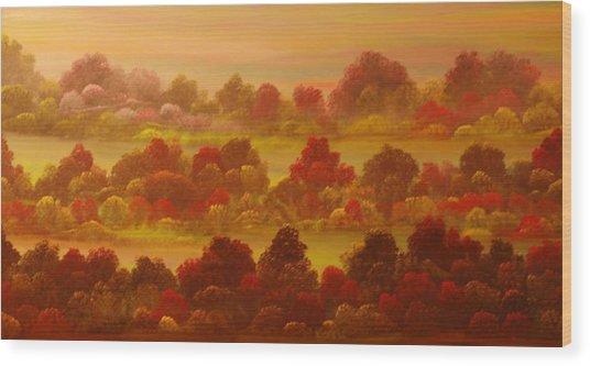 Indian Summer Wood Print by David Snider