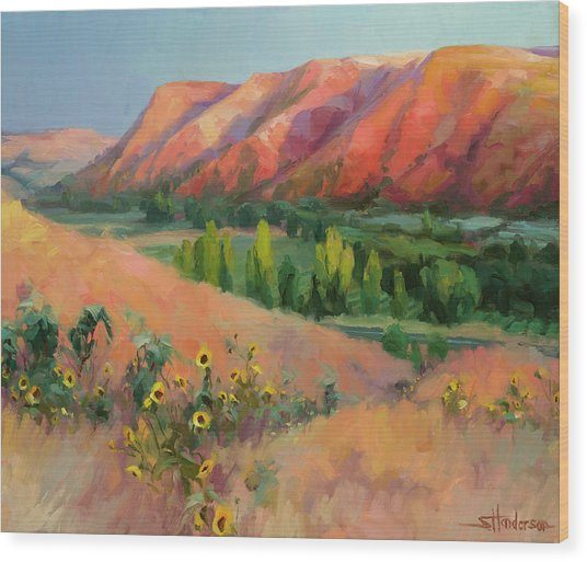 Wood Print featuring the painting Indian Hill by Steve Henderson