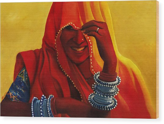 Indian Woman In Veil Wood Print by Arti Chauhan