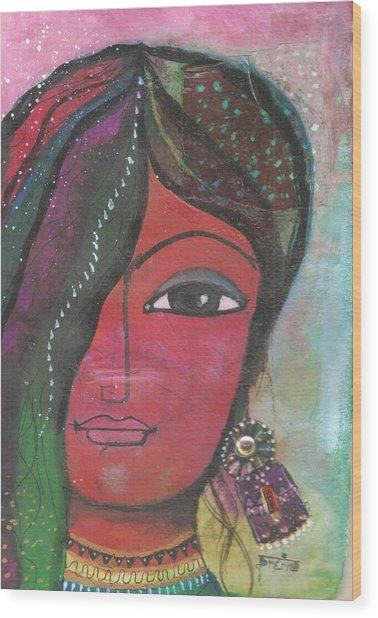 Indian Woman Rajasthani Colorful Wood Print