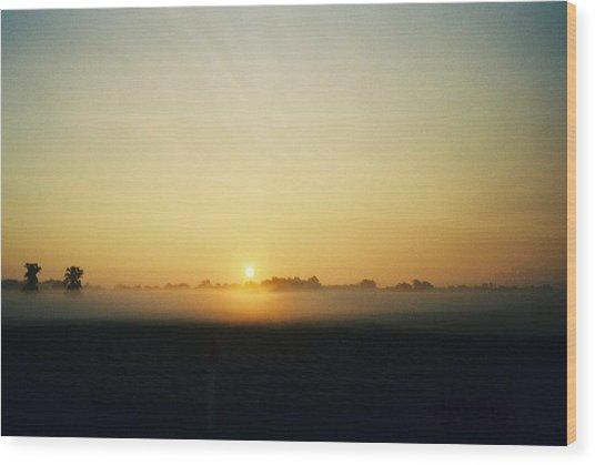 Indiana Sunrise Wood Print by Gene Linder