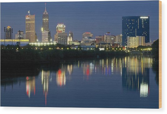 Indianapolis Night Wood Print