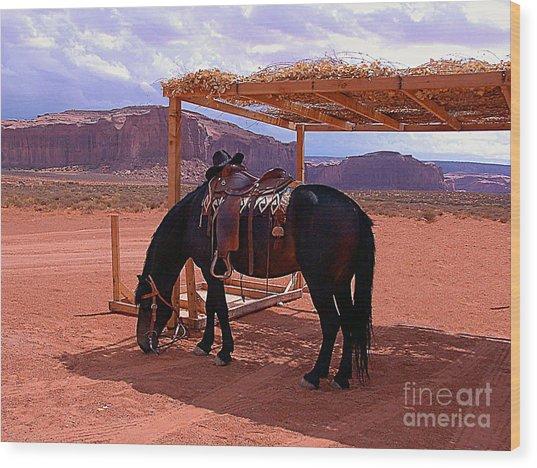 Indian's Pony In Monument Valley Arizona Wood Print