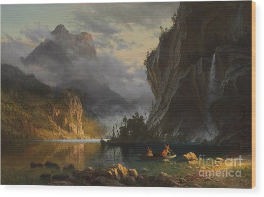 Indians Spear Fishing Wood Print