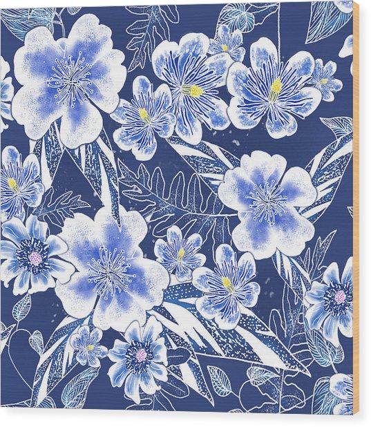 Indigo Batik Tile 1 - Camellia Wood Print