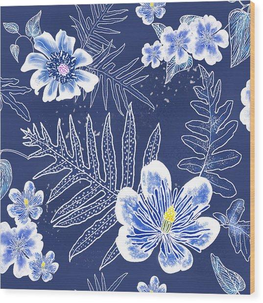 Indigo Batik Tile 3 - Laua'e Wood Print