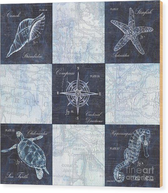 Indigo Nautical Collage Wood Print