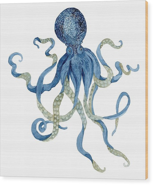 Indigo Ocean Blue Octopus  Wood Print