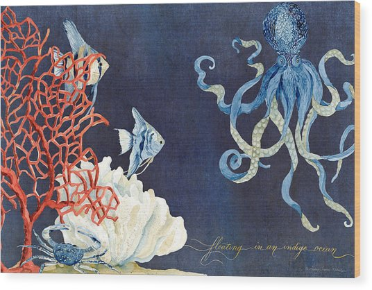 Indigo Ocean - Floating Octopus Wood Print