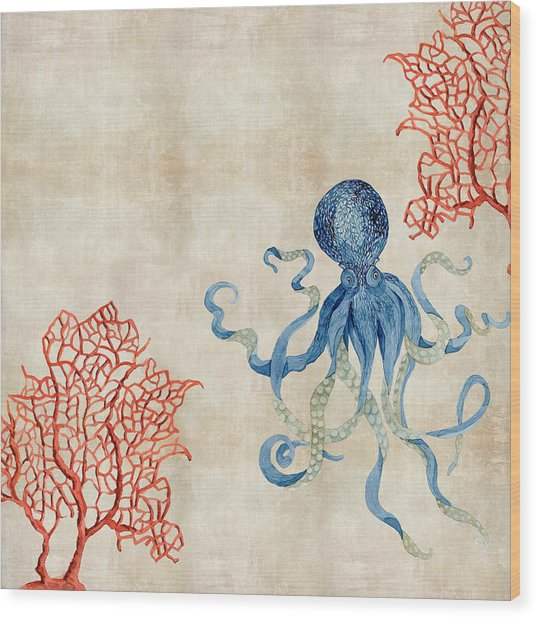 Indigo Ocean - Octopus Floating Amid Red Fan Coral Wood Print