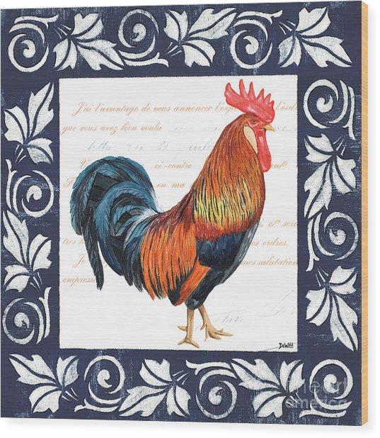 Indigo Rooster 1 Wood Print
