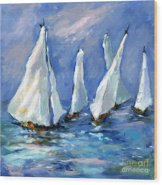 Indigo Seas Wood Print