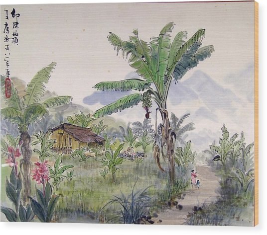 Indonesia Village Wood Print by Ying Wong