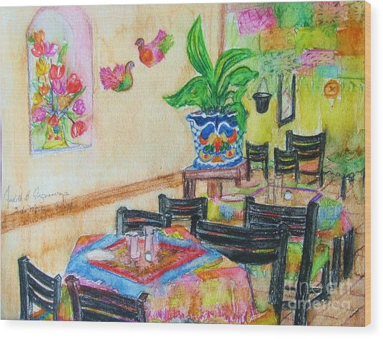 Indoor Cafe - Gifted Wood Print