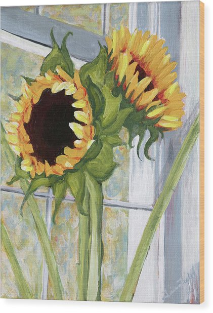 Indoor Sunflowers II Wood Print